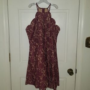 Burgundy & tan floral formal dress